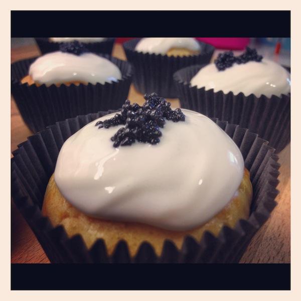 Salmón Cupcakes con frosting de queso para los cursos cupcakes madrid