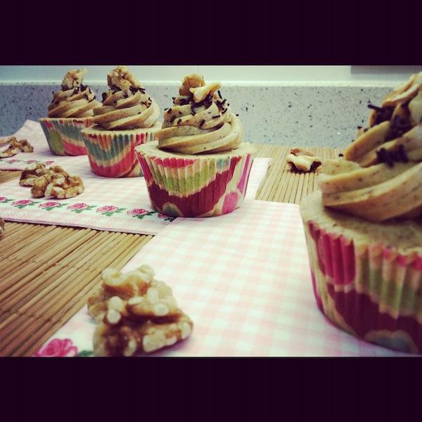Cupcake de nueces y café