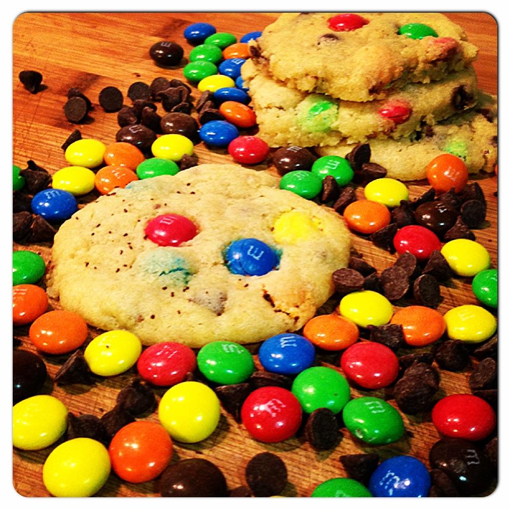 Galletas de M&M's con chispas de chocolate